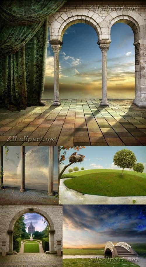 Природа и замок - романтичный растровый клипарт   Природа ...