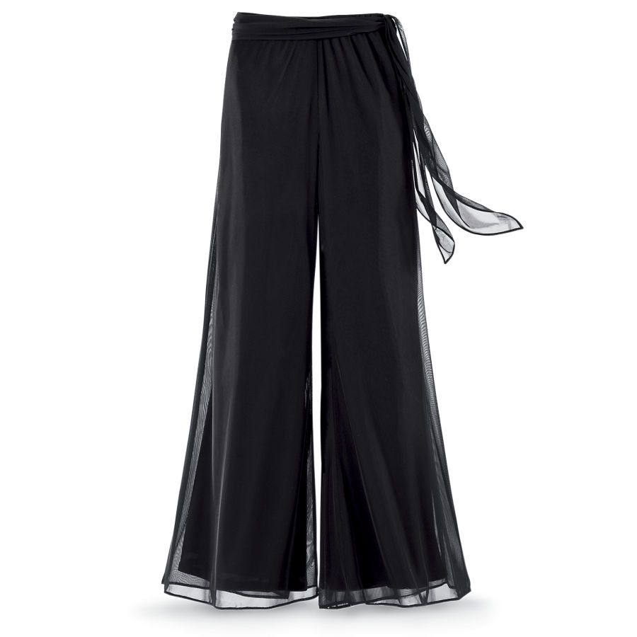 aa3cd0c01f Black Chiffon Palazzo Pants - New Age, Spiritual Gifts, Yoga, Wicca,  Gothic, Reiki, Celtic, Crystal, Tarot at Pyramid Collection