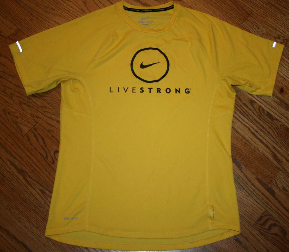 196b2d835831 NIKE DRI-FIT LIVESTRONG yellow running T-Shirt Men s Large cycling jogging   nike  GraphicTee