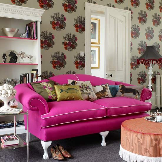 Eclectic Styling | Pink couch, Kitsch and Eclectic style