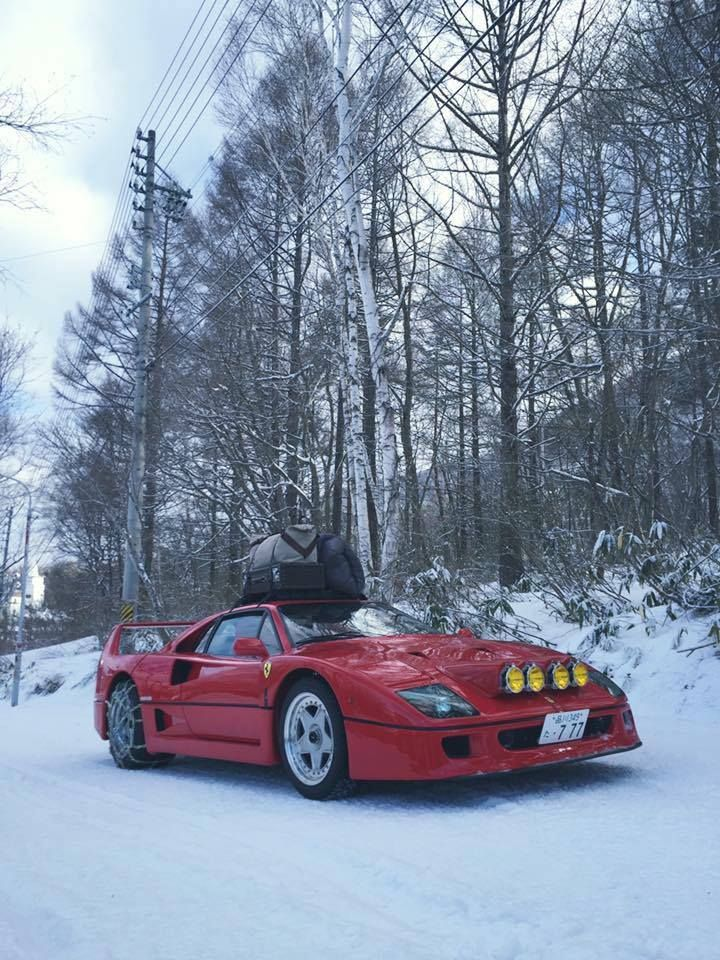 Looking for similar pins? Follow me! http://kohlsson.link/1W5N6ws | kevinohlsson.com Ferrari F40 in the snow [another picture in comments] [720x960]