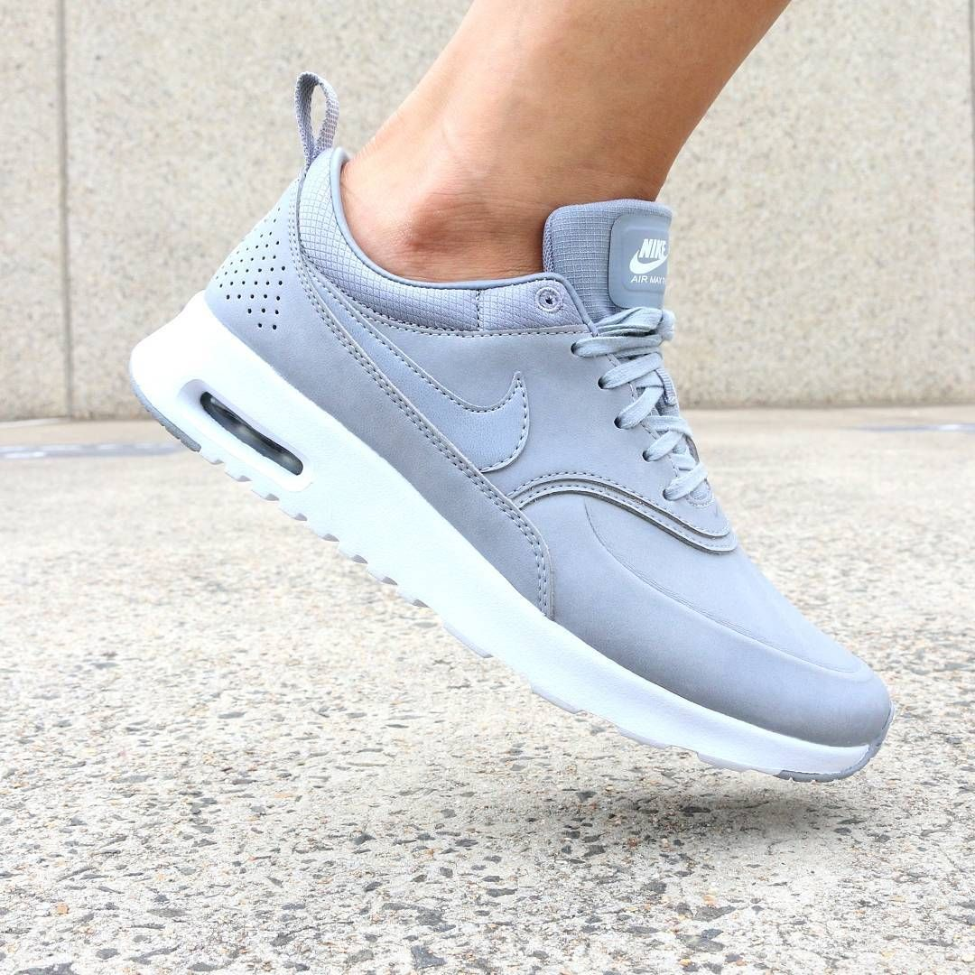 """For a sleek and chic addition to your wardrobe, pick the Nike Air Max Thea  Premium - this beautiful grey colourway will pair perfectly with any outfit!"