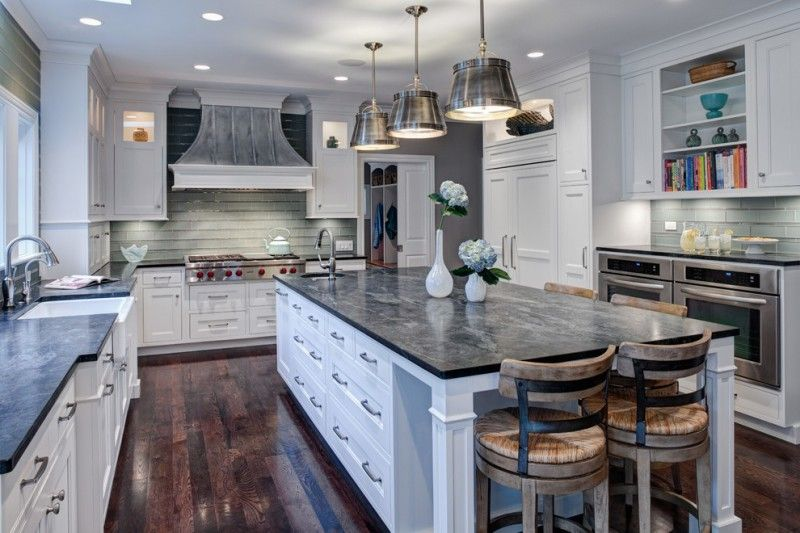Genial Soapstone Kitchen Island Wall Cabinets Hardwood Floor Transitional Kitchen  Chairs Faucet Sink Ceiling Lights Shelves Books Hanging Lamps Of Beautiful  ...