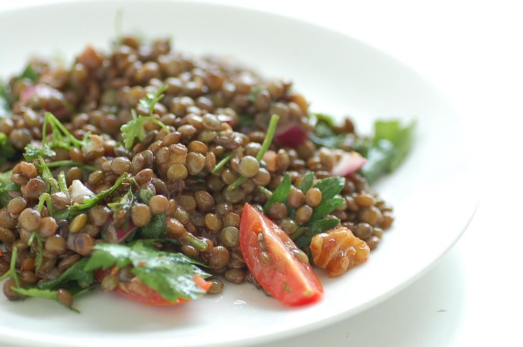 This recipe makes a great main course, sort of like a well-dressed, warm lentil salad.
