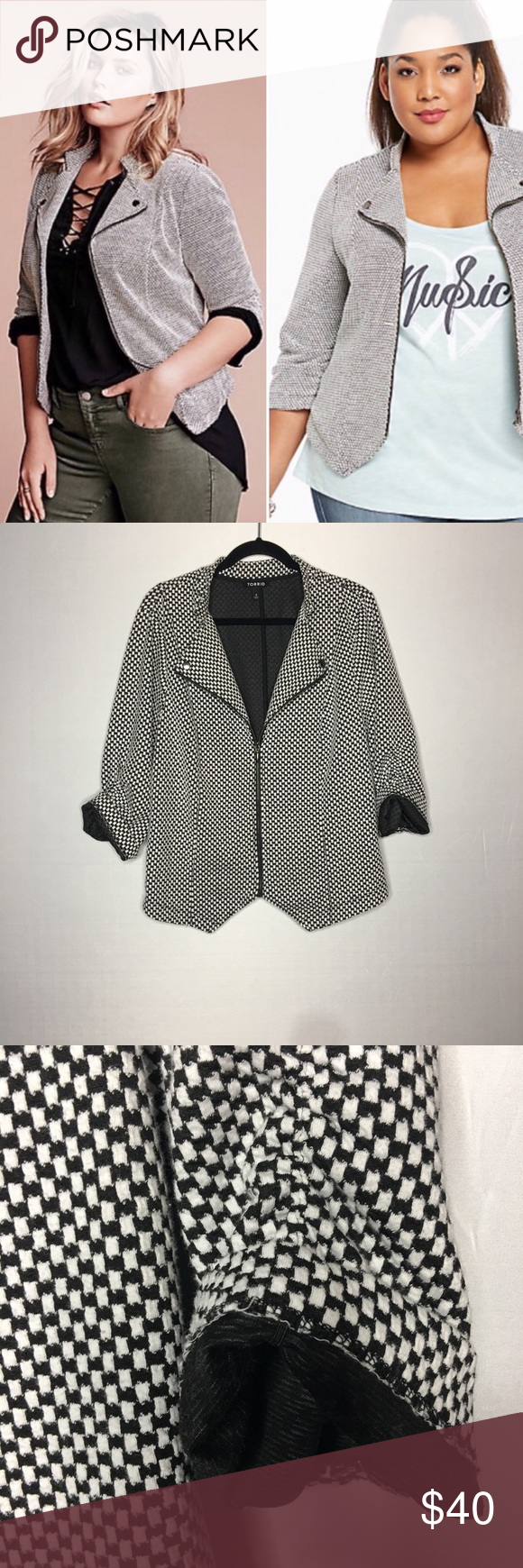 15e472f5987 Torrid Plus Size 3 Black White Moto Blazer Jacket Torrid Plus Size 3 moto  style blazer jacket
