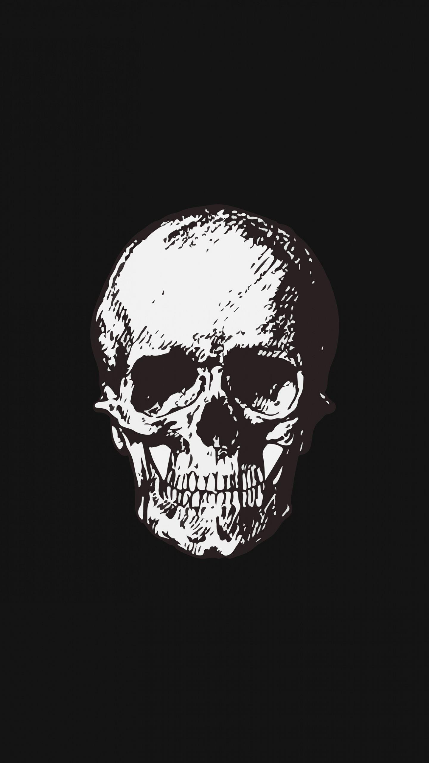 1440x2560 Skull Bw Minimal Art Wallpaper Art Wallpaper Art Black Wallpaper Iphone