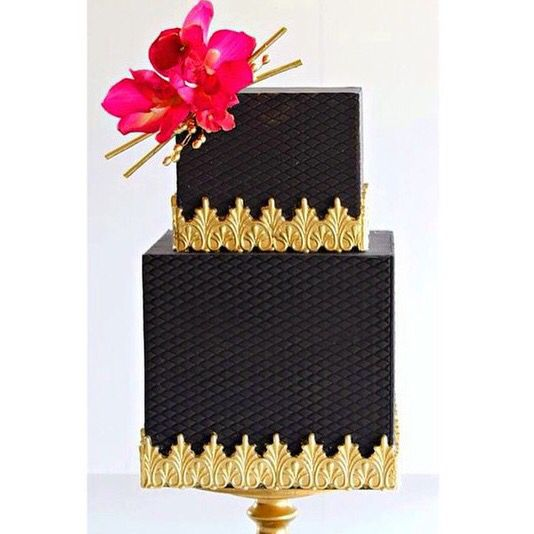 Black and gold square cake
