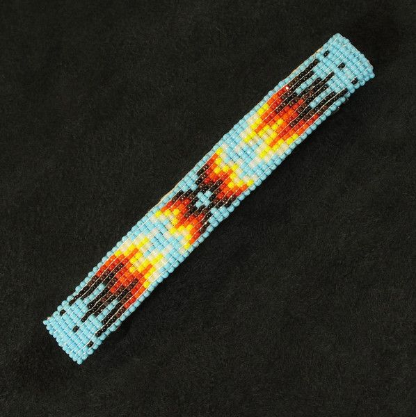 Light Blue Beaded Barrette  Native American made