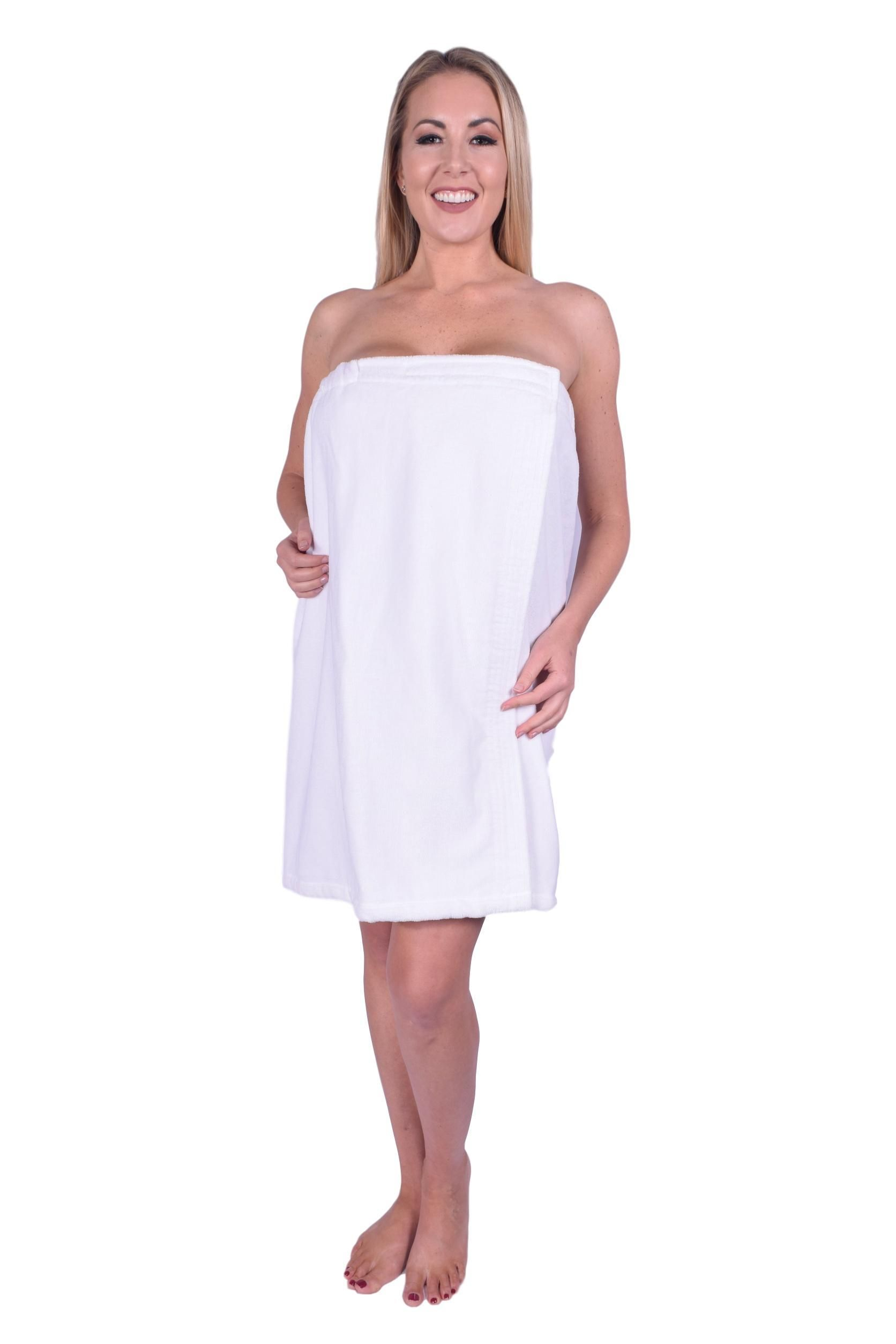 5c33b9a148 Puffy Cotton Terry Velour Cotton Spa Body Wrap ( Women ) - White ...