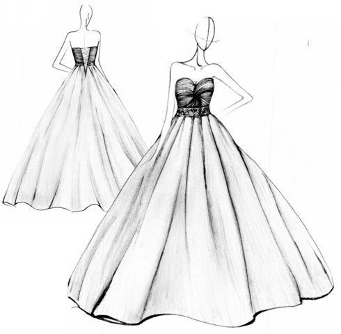 fashion design sketches of dresses black and white
