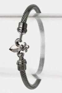 Fleur-de-lis Gunmetal Bracelet