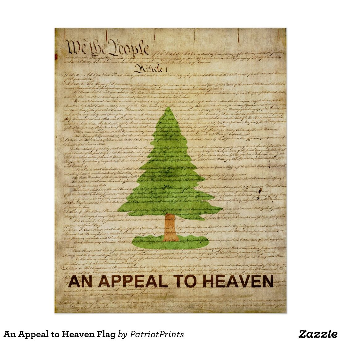 An Appeal To Heaven Flag Poster Zazzle Com In 2020 Flag Decor Heaven Tattoos Custom Posters