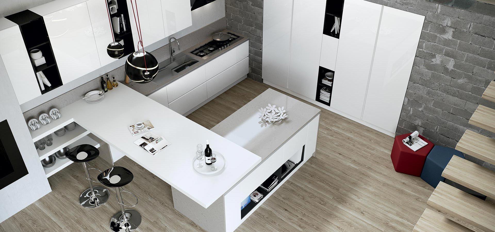 Cucina Moderna - Round Finitura bianco | Vani a giorno nero ...