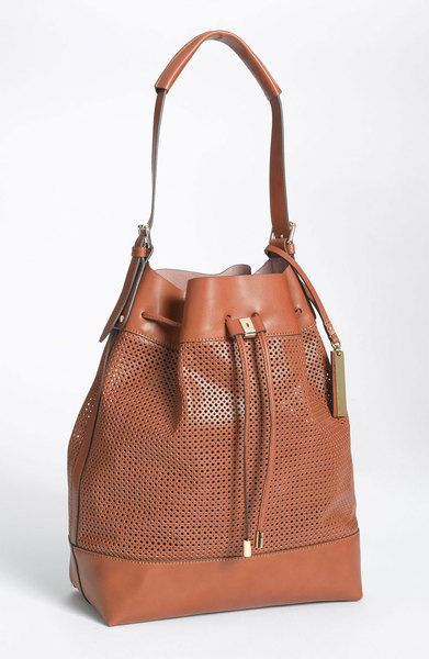5b751f88e Vince Camuto Perforated Drawstring Shoulder Bag in Brown (start of color  list luggage) - Lyst
