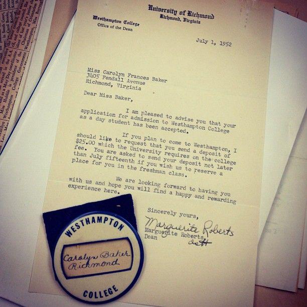 Vintage University of Richmond acceptance letter, circa 1952 U - college acceptance letters