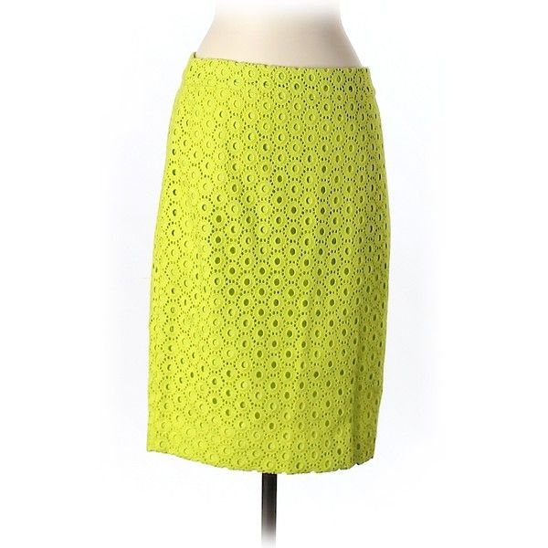 Pre-owned J. Crew Casual Skirt ($24) ❤ liked on Polyvore featuring skirts, light green, j. crew skirts, yellow skirt and j.crew