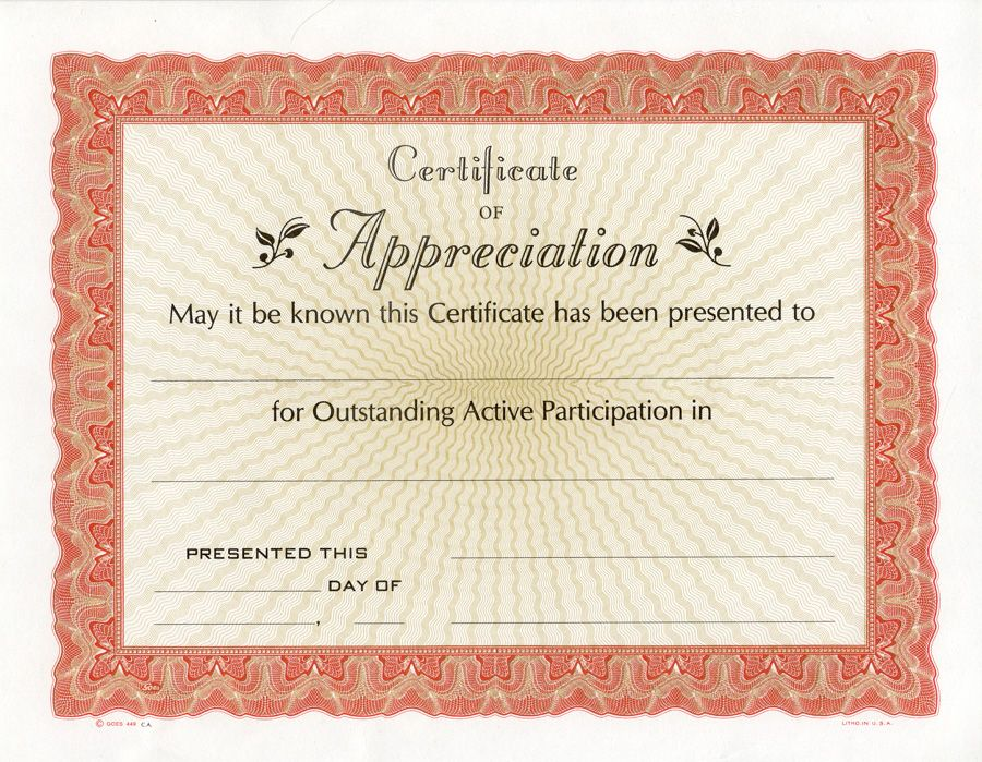 Free Printable Certificate of Appreciation Certificate of - fresh fillable certificate of appreciation