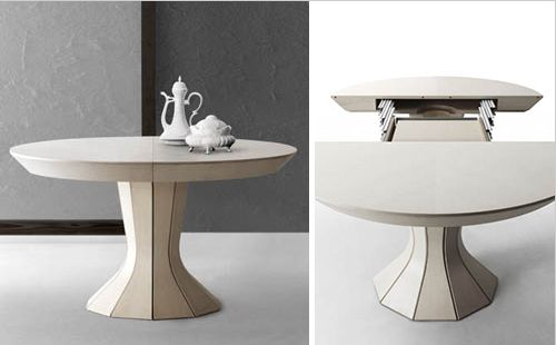 Opera a round expandable modern dining table by bauline for Buy expanding round table
