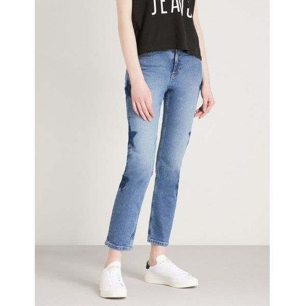 25dc22c25d068b TOMMY JEANS Izzy star-detail slim-fit high-rise jeans ($135) ❤ liked on  Polyvore featuring jeans, skinny jeans, high rise cropped jeans, tommy  hilfiger ...