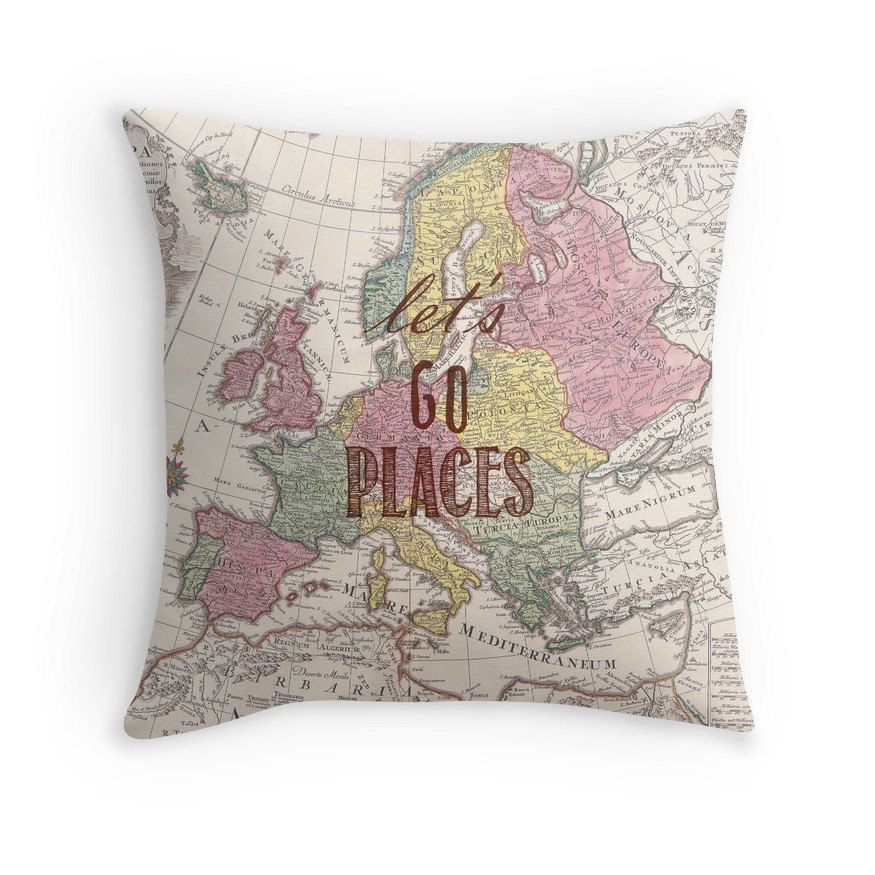 Travel quote pillow pillow cover lets go places wanderlust travel quote pillow pillow cover lets go places wanderlust graduation gift valentines world map home decor throw pillow for her gumiabroncs Images