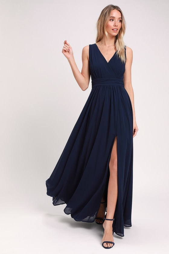0e0483288addf Lulus Exclusive! The Lulus Thoughts of Hue Navy Blue Surplice Maxi Dress  will have you