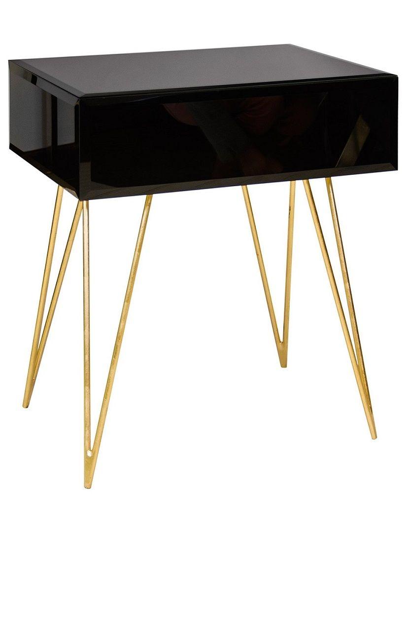 Nightstands Elegant Black Glass Gold Leaf Hairpin Legged Bedside