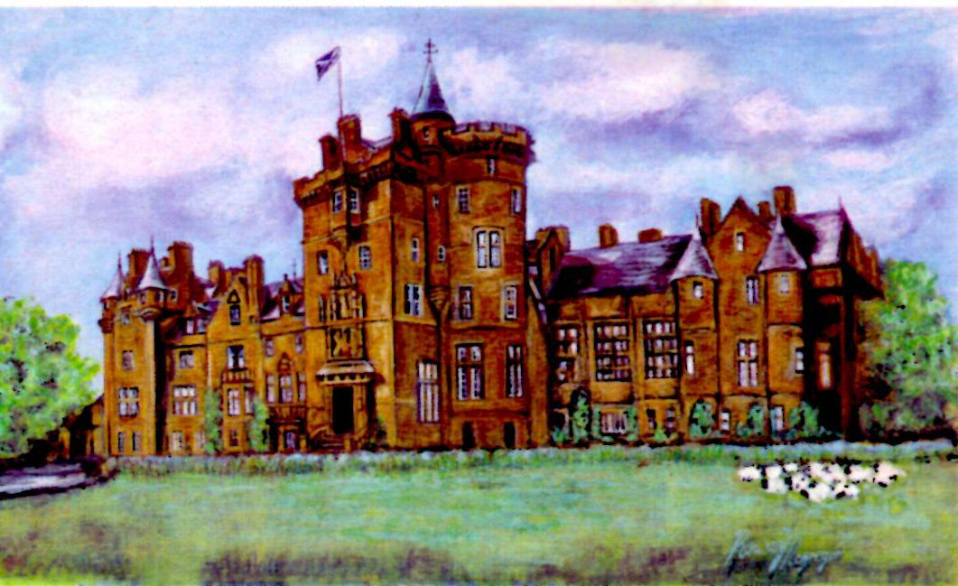 Kinfauns Castle in Scotland, painted by Rowan Mcgregor of ScotSlate Design.