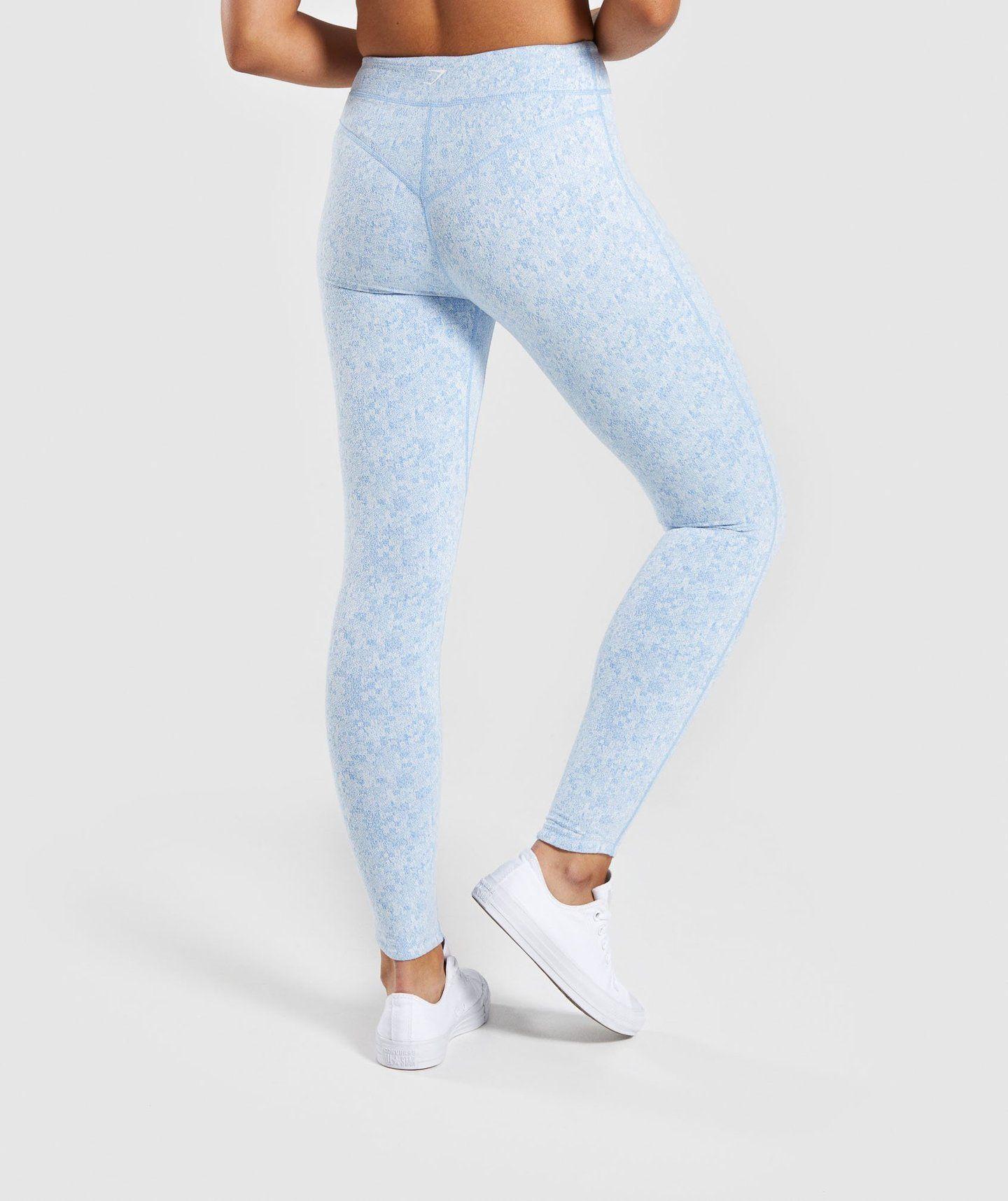 2a22efd416649 Gymshark Fleur Texture Leggings - Blue | Bottoms & Leggings | Gymshark