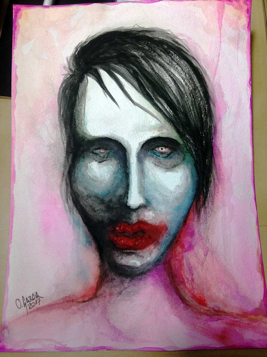Marilyn Manson Aquarelle Art Olivier Garcia Marilyn Manson Art