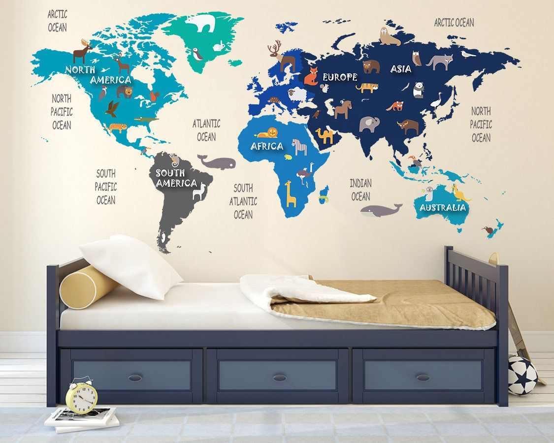 Colorful animal world map decal clear vinyl decal kids room colorful animal world map decal clear vinyl decal kids room decals world map mural world animals nursery decals christmas gift by gumiabroncs Gallery