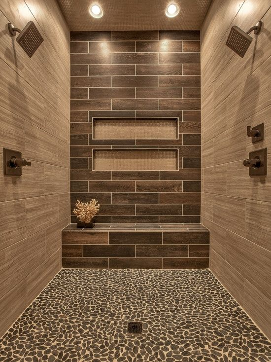 contemporary 3/4 bathroom with parkwood beige 7 in. x 20 in