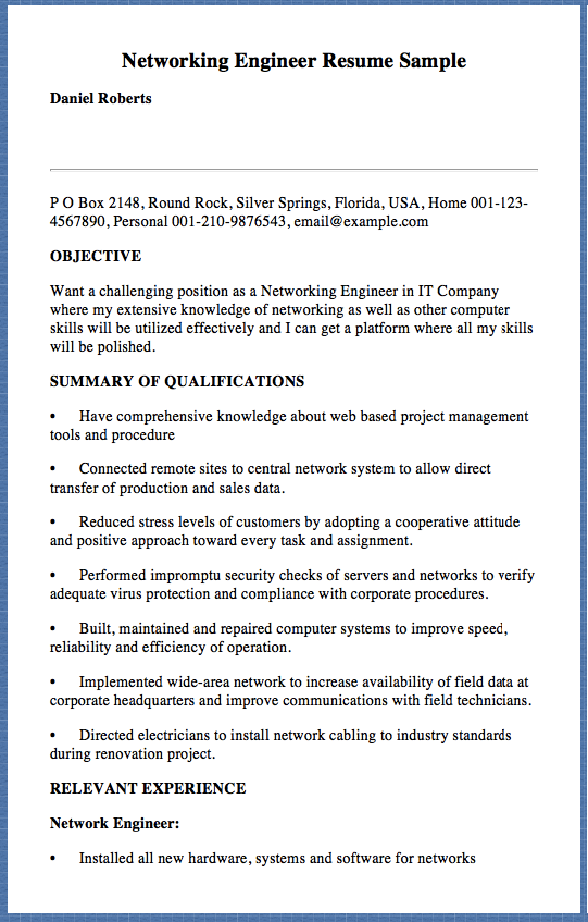 Networking Engineer Resume Sample Daniel Roberts P O Box 2148 Round