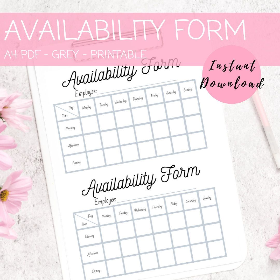 Availability Form For Employee Payroll Sheet For Small