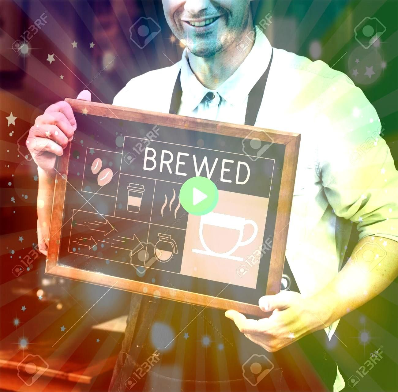 holding banner Illustration of coffee shop advertisement blackboard Stock Photo Man holding banner Illustration of coffee shop advertisement blackboard Stock Photo  USA...
