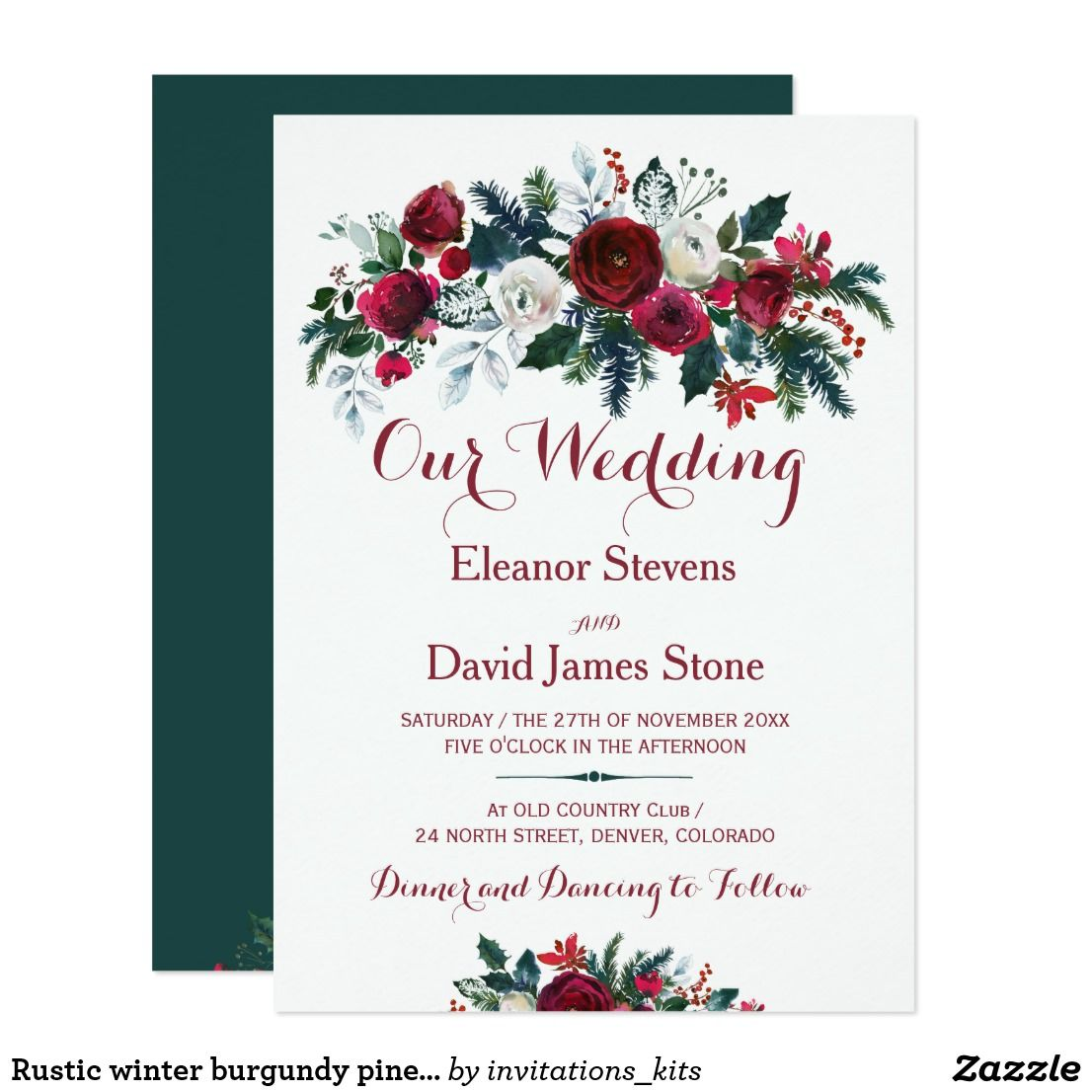 Rustic winter burgundy pine green floral wedding invitation ...