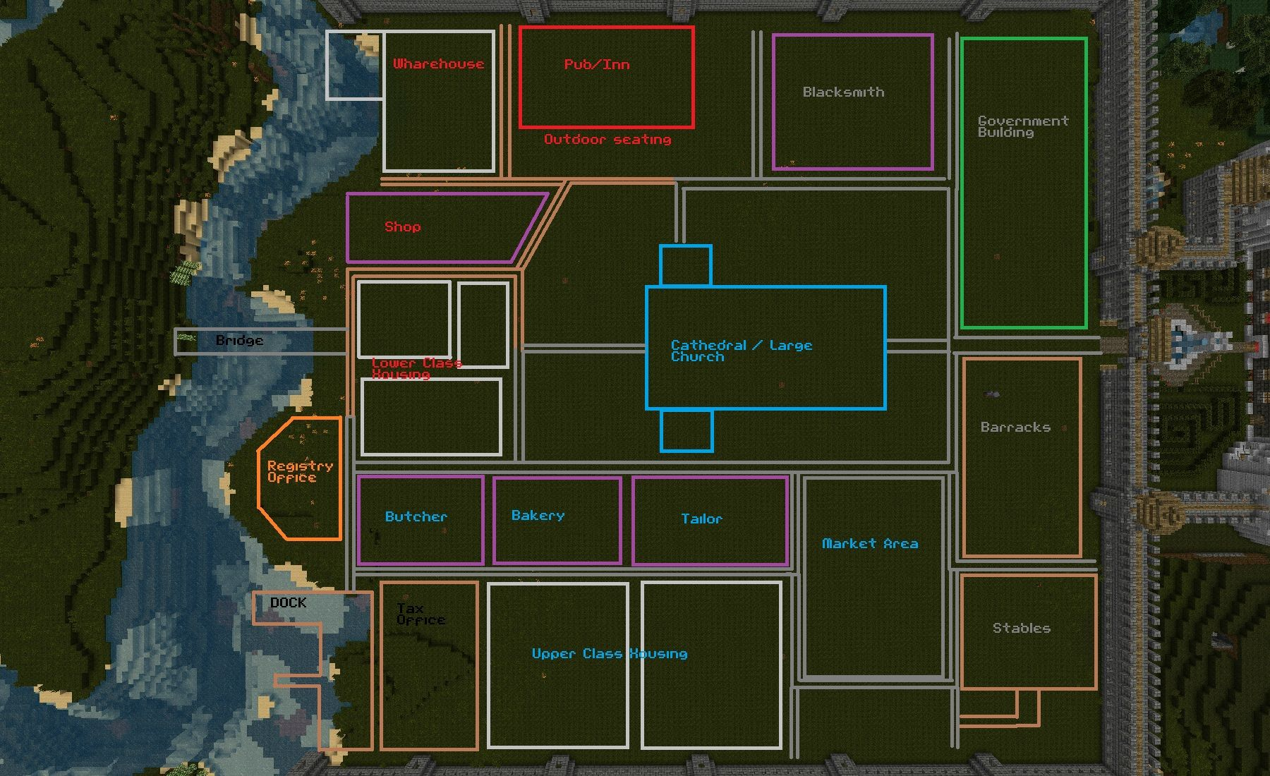 Minecraft medieval village layout layout minecraft for City house plans