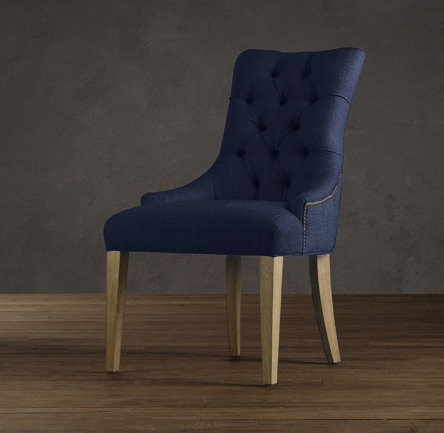 Martine Upholstered Armchair   Fabric Arm & Side Chairs   Restoration Hardware *Indigo Linnen*