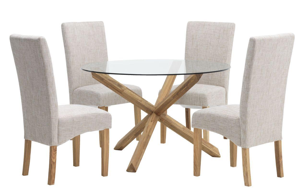 Eettafel AGERBY Ø3cm glas/eiken  Home decor, Dining, Furniture