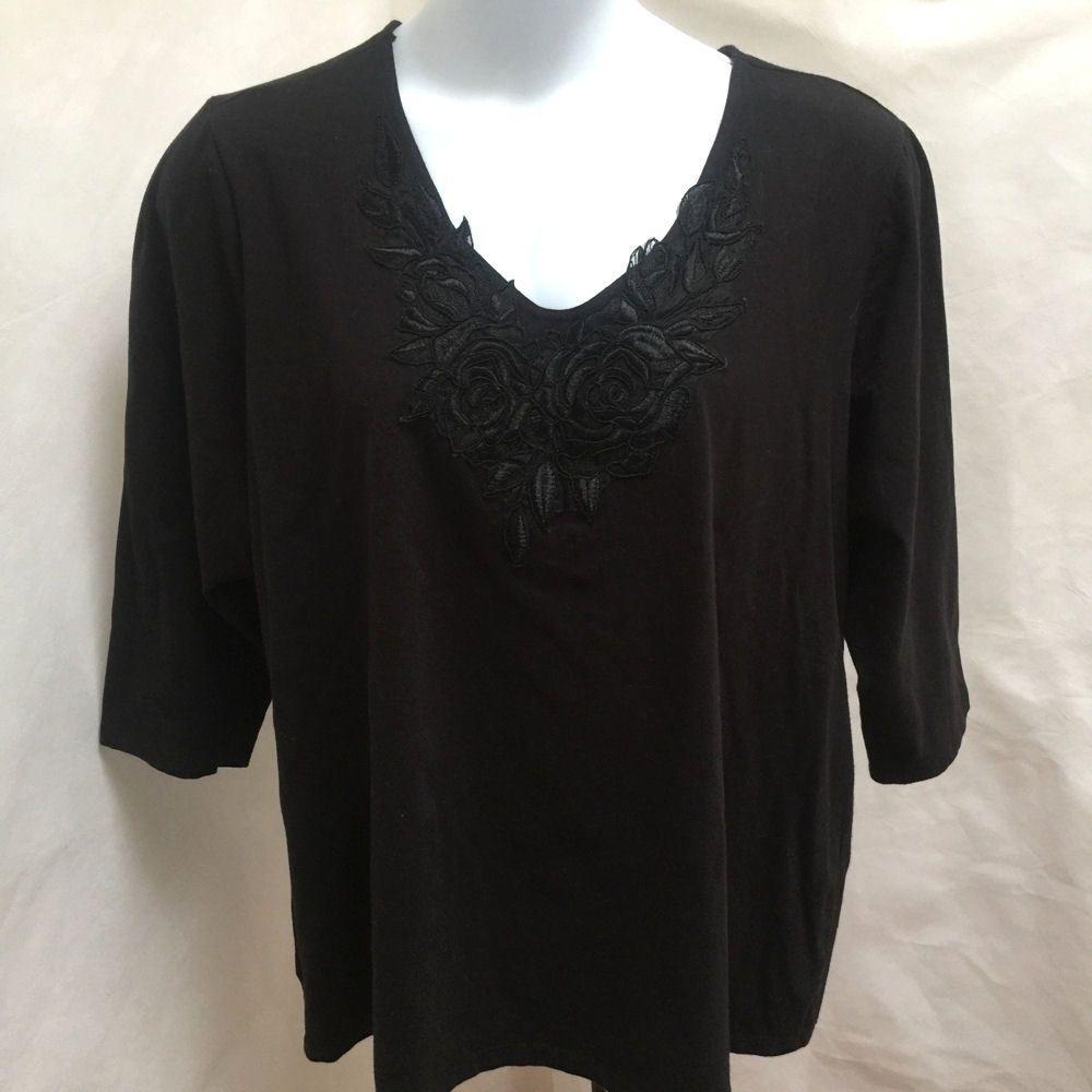 dbd744b173d Susan Graver 3X Black Applique Top  SusanGraver  Blouse  Casual  plussize   plussizefashion
