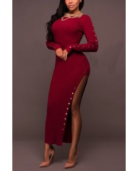 Red Knitting Long Sleeves Maxi Button Dress
