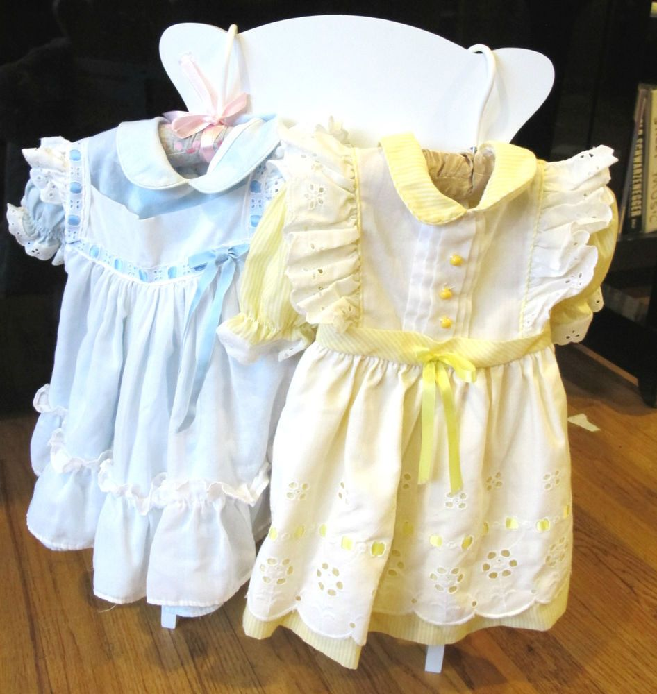 White lace apron ebay - Details About Vintage 1980s Baby Girl 2t Dress Eyelet Apron Ruffle Lace White Yellow Blue