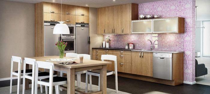 Tapetenmuster Küche Wandgestaltung Ideen Tapete Teppich Lampenschirm