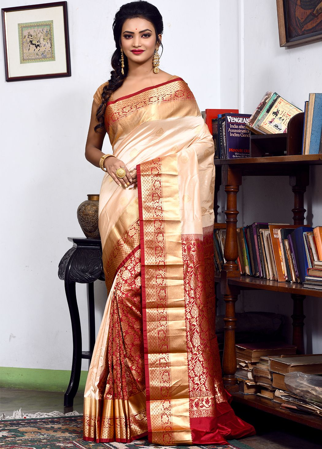 e2f70421fe Cream and red pure kanjivaram silk saree patli pallu saree enhanced with  zari woven floral and leaf designs, along with motifs. Embellished border  completes ...