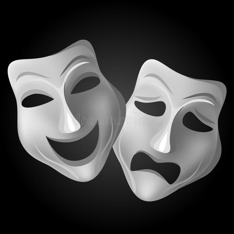 Theater mask set. Tragedy and comedy theater mask set on ...