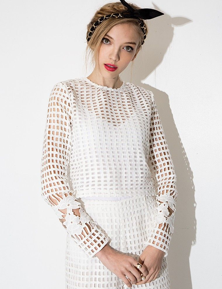 White Lace Long Sleeve Crop Top Cute Floral Crochet Top Want