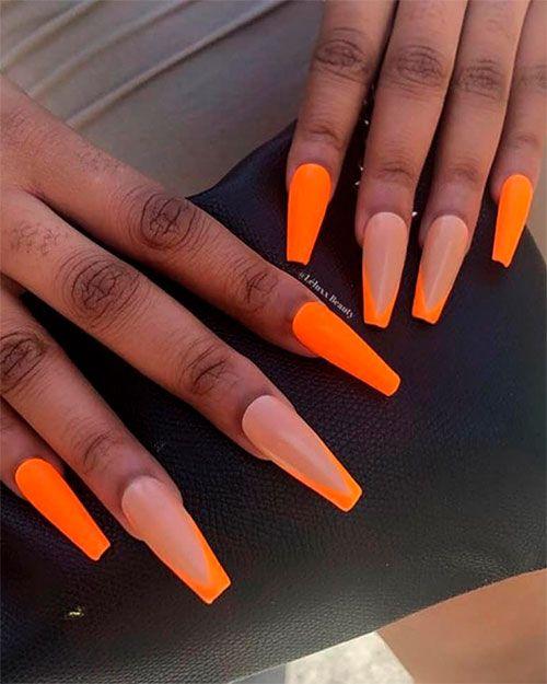 Cute Neon Orange Nails On Dark Skin In Summer 2019 Orange Acrylic Nails Pretty Acrylic Nails Coffin Nails Designs