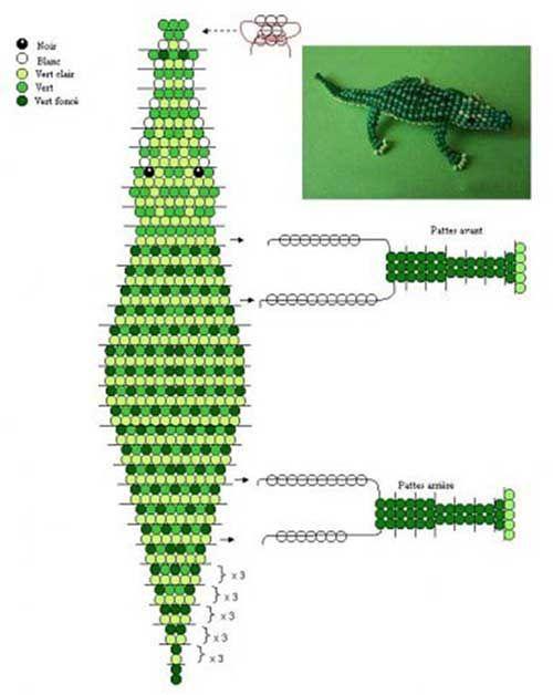Крокодил бисера объемный схема