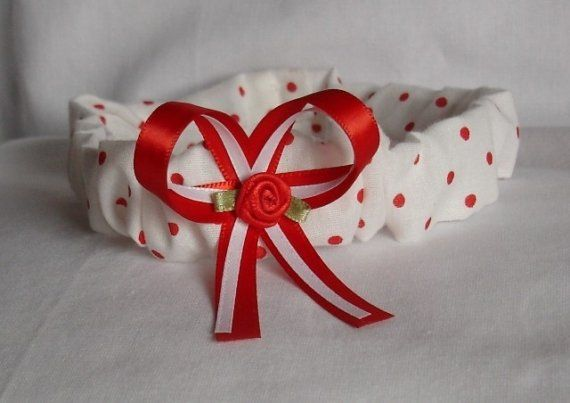White with Red Polka Dots Headband  Carlykins Boutique Baby Girl Hair Bow Head by CarlykinsBoutique, $14.25