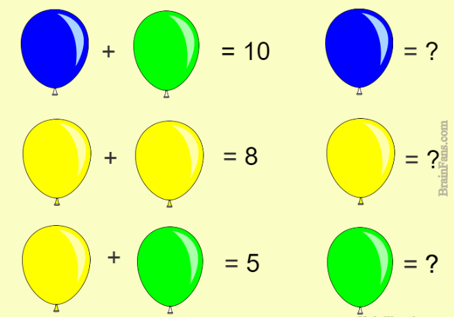 Brain Teaser Kids Riddles Logic Puzzle Riddle For Kids With Baloons Replace Baloons With Numbers So The Results Maths Puzzles Brain Teasers Logic Puzzles