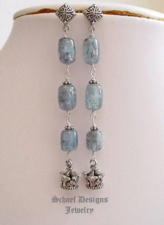 Artisan Handcrafted Gemstone, pearl, & figaro chain designer Jewelry | Kyanite & Sterling Silver Crown Drop Earrings | artisan handcrafted gemstone jewelry by Schaef Designs | New Mexico